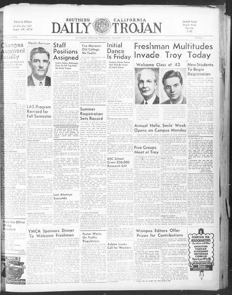 Daily Trojan, Vol. 30, No. 1, September 14, 1938