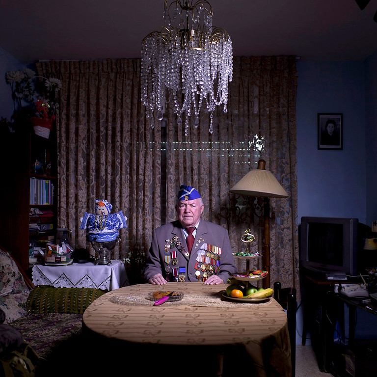 . Soviet Jewish World War Two veteran Michael Sandler, 93, poses for a portrait at his house in Jerusalem, Israel. Sandler joined the Red Army, in 1939, serve the 3rd Guards Tank Army, 91st Separate Tank Brigade; in Stalingrad, then in Berlin and Prague until the end of the war. Sandler immigrated to Israel in 1991. About 500,000 Soviet Jews served in the Red Army during World War Two, and the majority of those still alive today live in Israel.   (AP Photo/Oded Balilty)