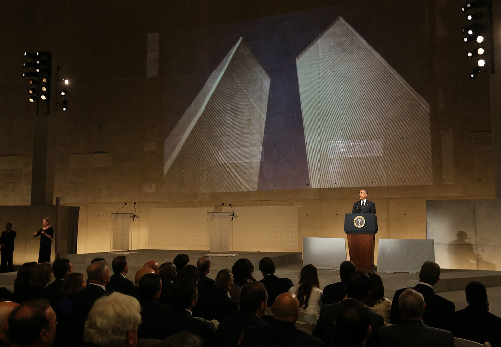 . U.S. President Barack Obama speaks during the dedication ceremony at the National September 11 Memorial Museum May 15, 2014 in New York City. (Photo by John Munson-Pool/Getty Images)