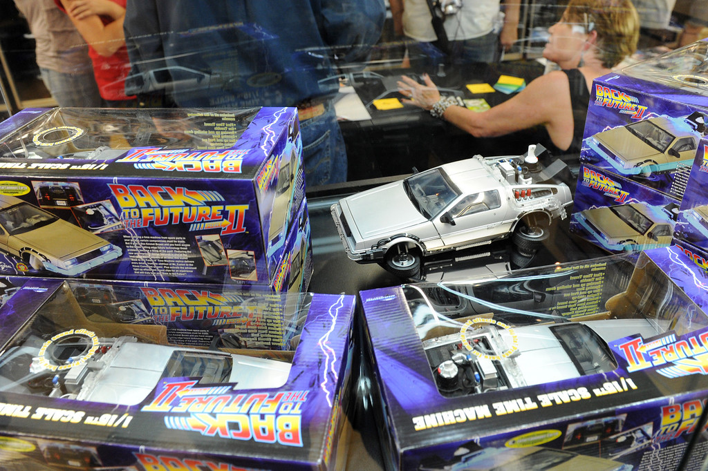 . Superbad Action Figures in Redlands celebrated the popular film series �Back to the Future� with an event on Saturday. Replica\'s of the Delorean time machines were on display, Kevin Pike, a special effects supervisor from the film, was there signing autographs for fans.  Replica cars from �Jurassic Park� and �K.I.T.T.� from the Knight Rider television series were also on display. (John Valenzuela/Staff Photographer)