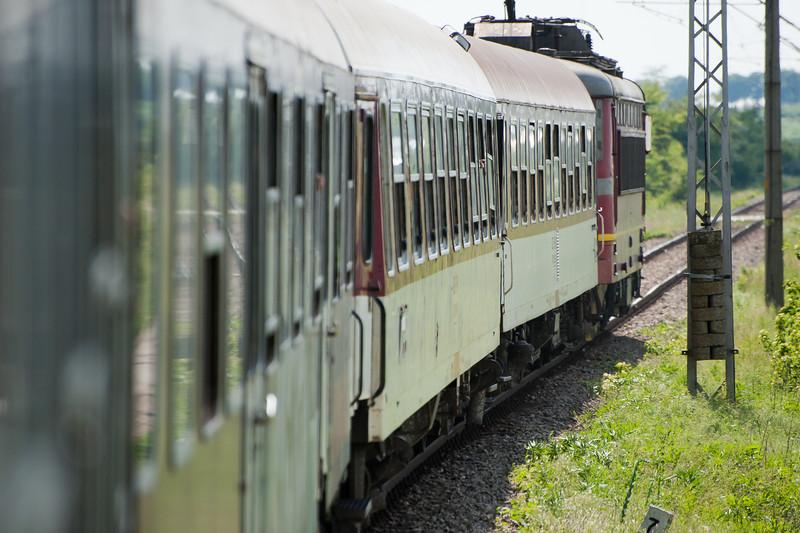 Old train passing through railway track - Veliko Tarnovo, Bulgaria