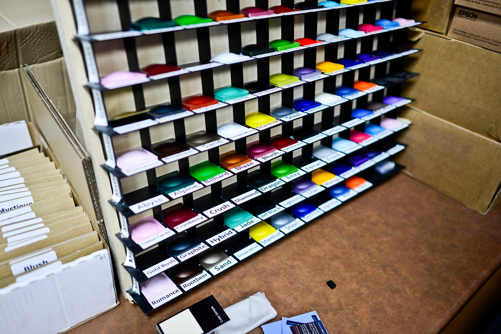 . Examples of the color swatches used to create the many colors available at the ColorWare design facilities in Winona. (Pioneer Press: Simon Guerra)