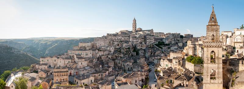 Panoramic View of Sasso Barisano, Sassi di Matera, Basilicata, Italy