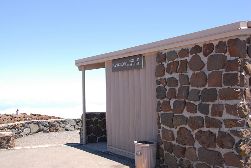 Haleakala National Park visitor center with elevation marker - Hawaii