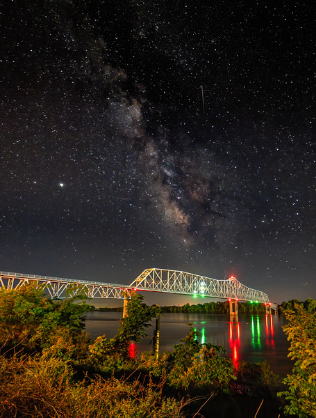 Chester Bridge spanning the Mississippi River under the Milky Way