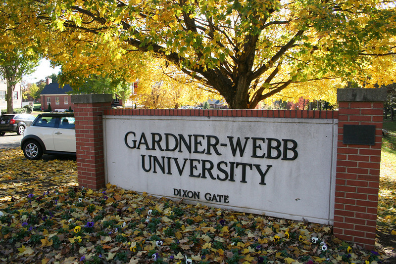 The Gardner-Webb University Dixon Gate entrance on a fall day.