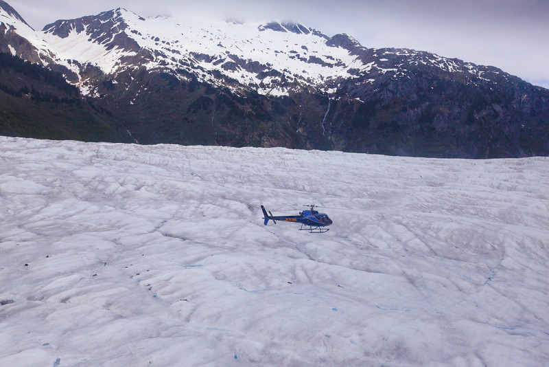 the other helicopter on our tour getting ready to land on Mendenhall Glacier