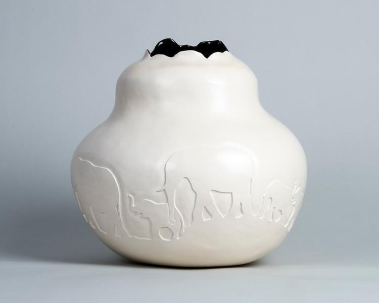 "2.Elephant vessel/ handbuilt/earthenware/ glaze (already photographed):  height: 10 1/2"" diameter: 11"""