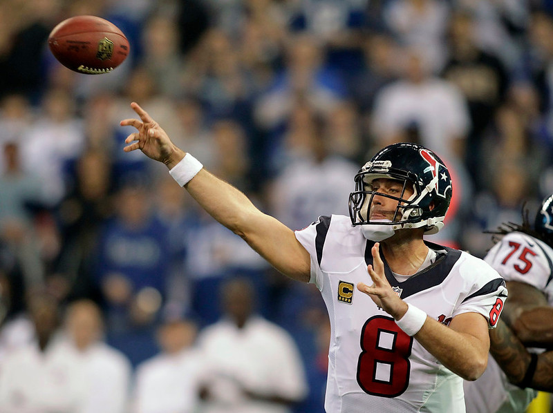 . Houston Texans\' Matt Schaub (8) throws during the first half of an NFL football game against the Indianapolis Colts, Sunday, Dec. 30, 2012, in Indianapolis. (AP Photo/AJ Mast)