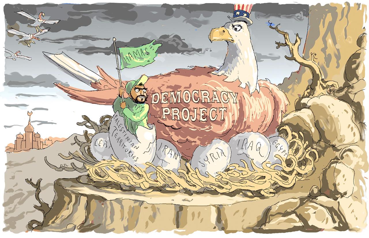 """Democracy Hatches""; cartoon from the New York Sun, January 27, 2006"