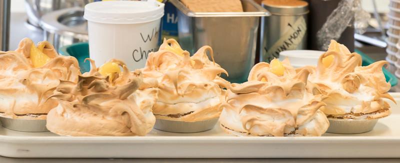 exuberant meringue on lemon tarts