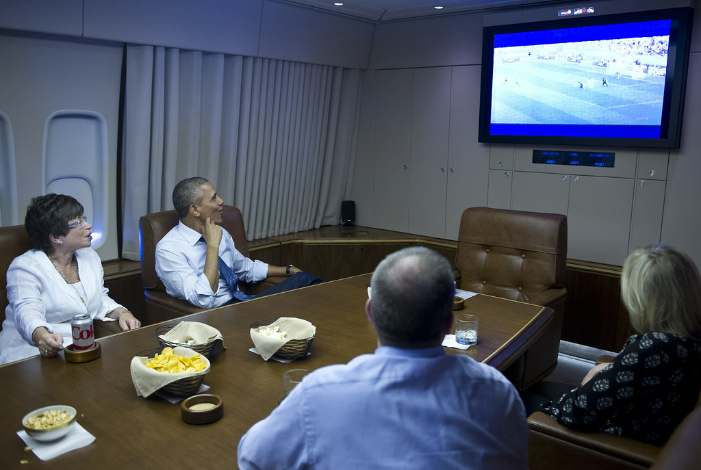 . US President Barack Obama and Senior Advisor Valerie Jarrett (L) watch the 2014 World Cup match between the US and Germany while en route to Minnepolis, Minnesota on June 26, 2014. Obama is heading to Minneapolis, Minnesota to hold a town hall meeting and to attend a fundraiser. MANDEL NGAN/AFP/Getty Images