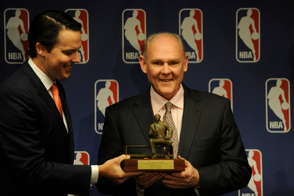 . Denver Nuggets Head Coach George Karl accepts the 2012-13 NBA Coach of the Year Award at the Pepsi Center on Wednesday, May 8, 2013.  (Photo By Lindsay Pierce/The Denver Post)