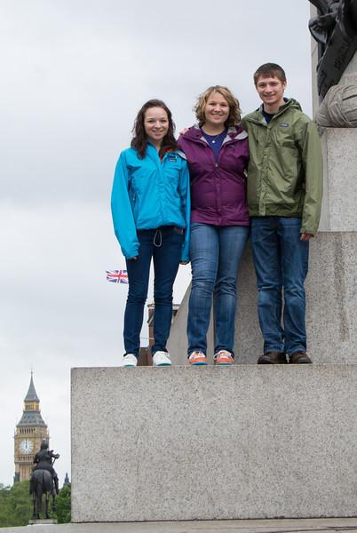 Monument climbing in Trafalgar Square