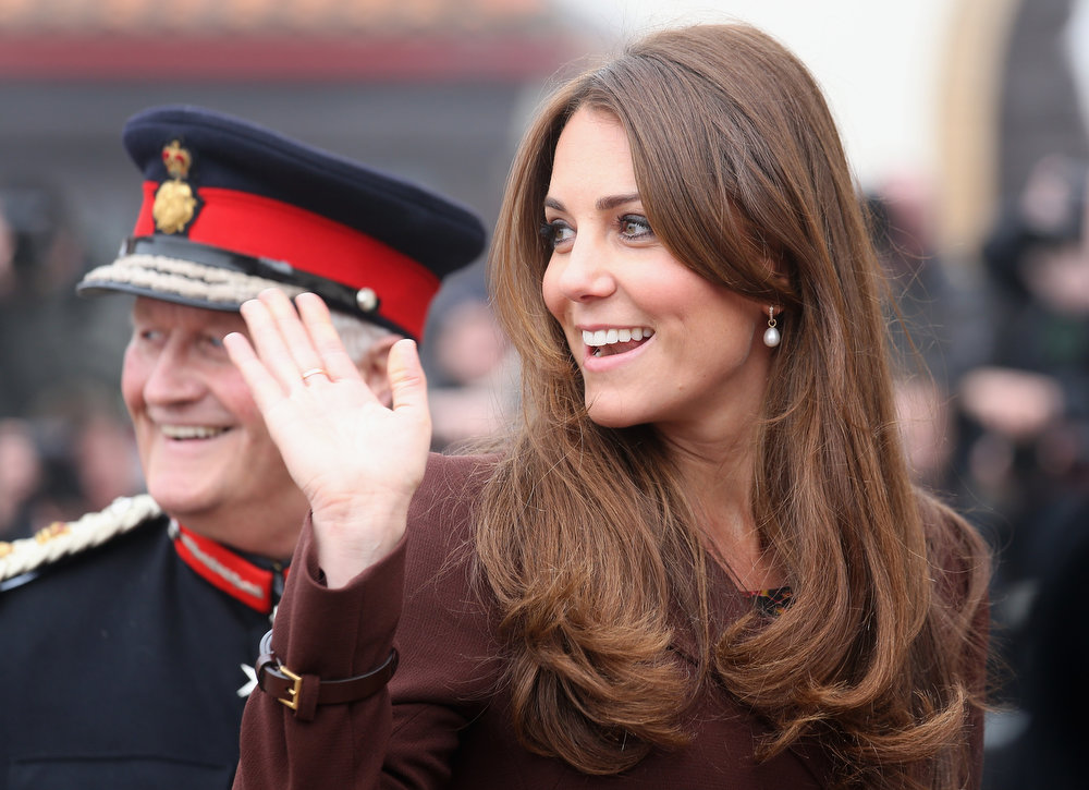 . Catherine, Duchess of Cambridge arrives at the National Fishing Heritage Centre on March 5, 2013 in Grimsby, England. The pregnant Duchess of Cambridge is spending the day visiting Grimsby in the North East of England.  (Photo by Chris Jackson/Getty Images)
