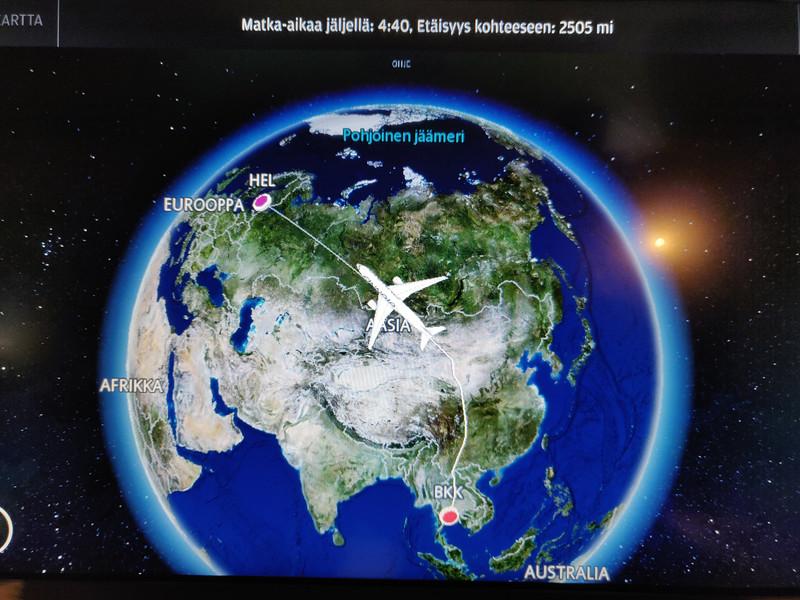 Live tail video camera, BKK Suvarnabhumi Airport to Helsinki Vantaa via Finnair Airbus A350-900, May 2019.