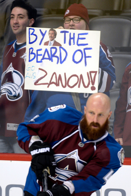 . DENVER, CO. - JANUARY 22: Fans hold a sign praising the beard of Colorado Avalanche defenseman Greg Zanon (4) during the pre-skate of their first home game of the NHL season. The Colorado Avalanche hosted the Los Angeles Kings at the Pepsi Center on January, 22, 2013.    (Photo By John Leyba / The Denver Post)