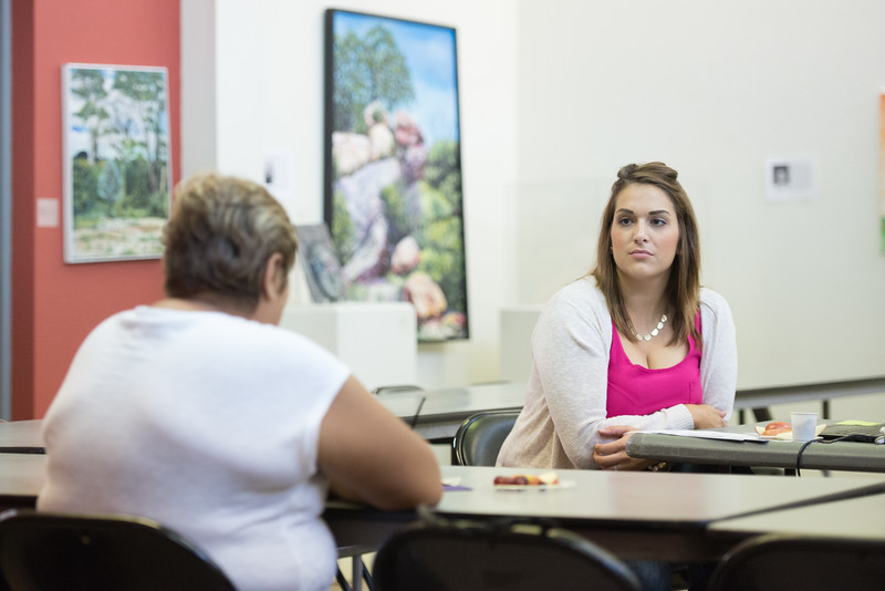 Brandalyn Duda counseling student from TAMU-CC hosts a parenting skills workshop  in the Antonio E. Garcia Arts & Education Center.