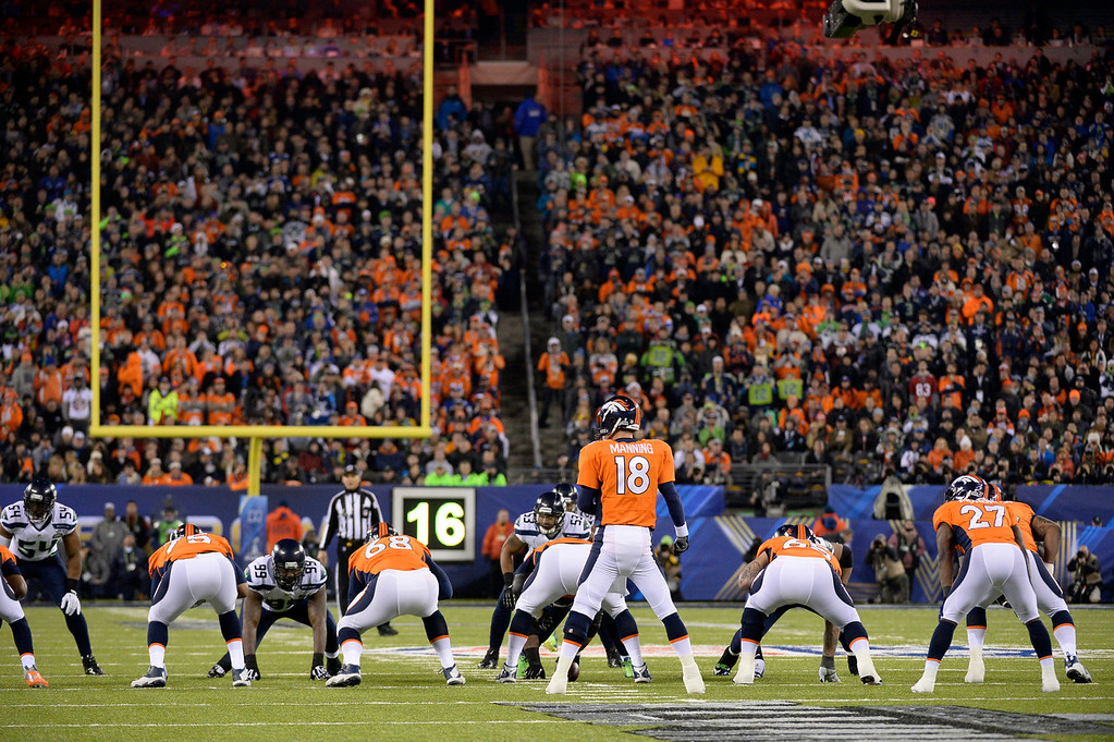 . Denver Broncos quarterback Peyton Manning (18) running the offense during the second quarter. The Denver Broncos vs the Seattle Seahawks in Super Bowl XLVIII at MetLife Stadium in East Rutherford, New Jersey Sunday, February 2, 2014. (Photo by John Leyba/The Denver Post)
