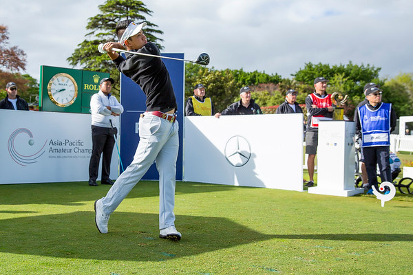 Chi Quan Truong from Vietnam hitting off the 1st tee on Day 1 of competition in the Asia-Pacific Amateur Championship tournament 2017 held at Royal Wellington Golf Club, in Heretaunga, Upper Hutt, New Zealand from 26 - 29 October 2017. Copyright John Mathews 2017.   www.megasportmedia.co.nz