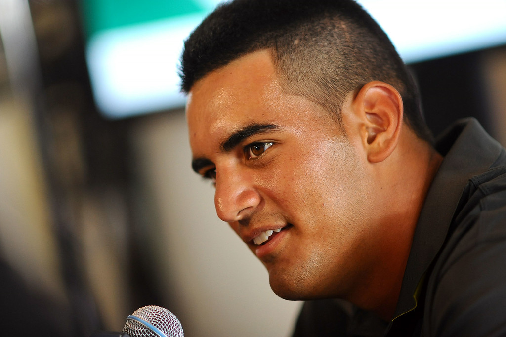 . Oregon quarterback Marcus Mariota answers questions during PAC-12 Football Media Day at the Paramount Theater in Los Angeles, Ca July 23, 2014.(Andy Holzman/Los Angeles Daily News)