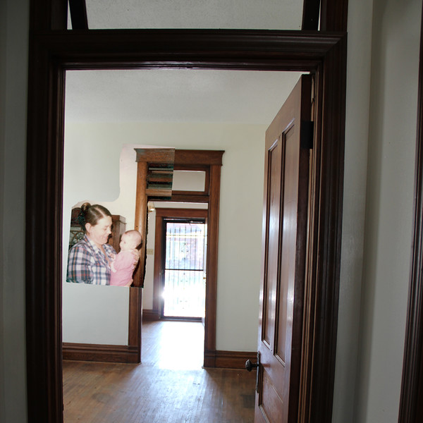 Looking through the dining room to the front hall (2015), overlaid with Mom & me in 1983