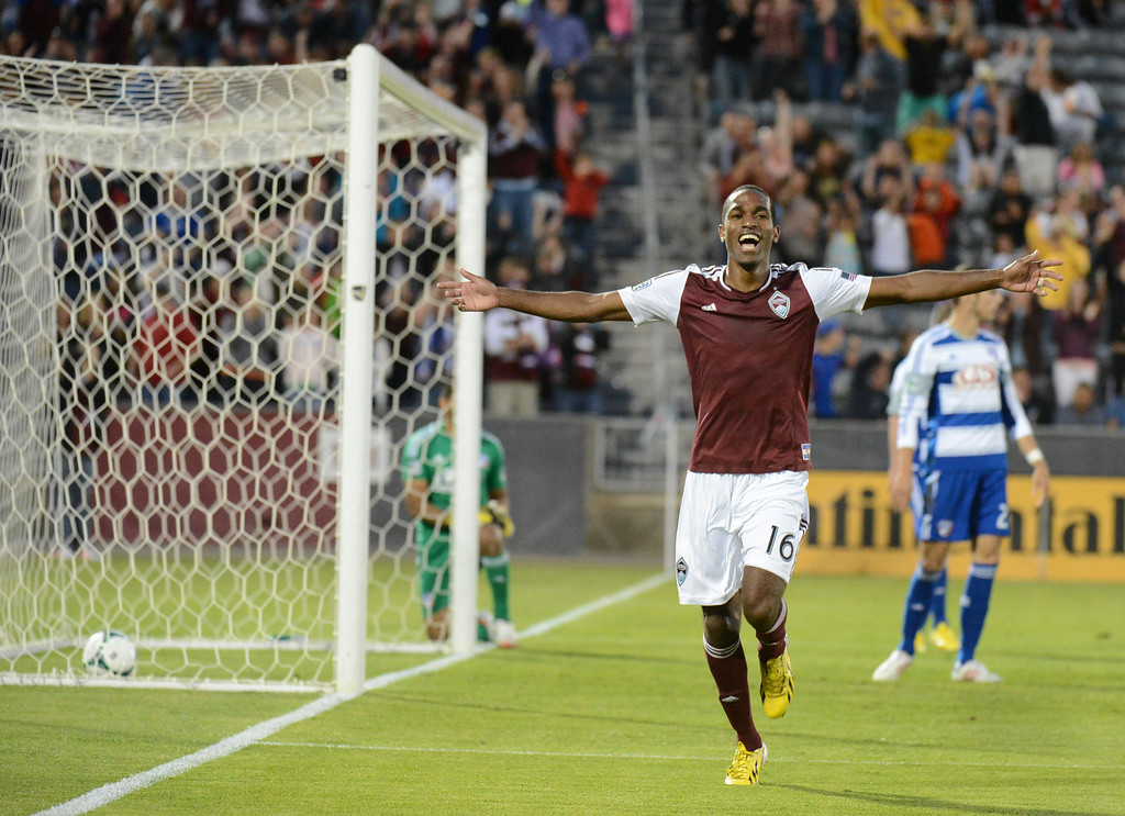 . COMMERCE CITY, CO. - June 01: Atiba Harris of Colorado Rapids (16) celebrate scoring his 2nd goal from FC Dallas in the 2nd half of the game at Dick\'s Sporting Goods Park. Commerce City, Colorado. June 1, 2013. Game tied 2-2. (Photo By Hyoung Chang/The Denver Post)