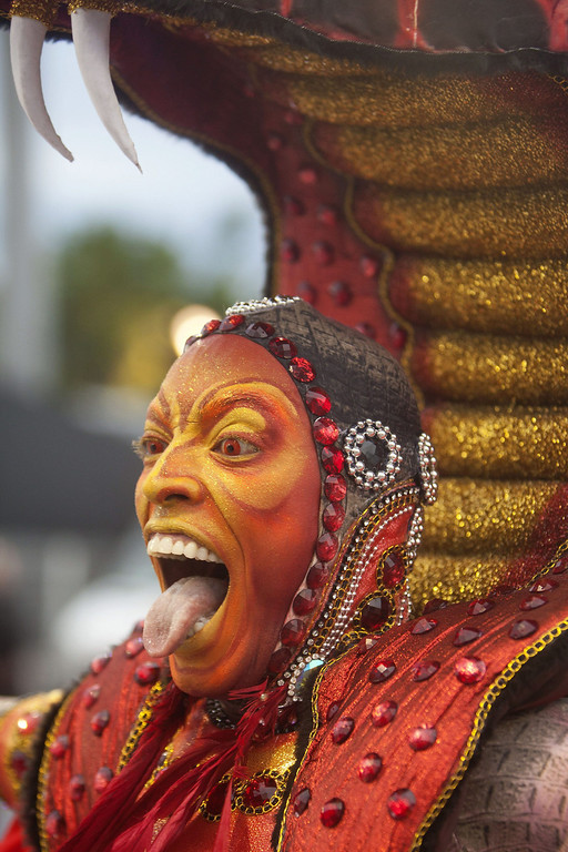 . Tongue poking moment by a  colourful character of \'Grupo Especial Tom Maior\' samba school performs during celebrations of the Carnival at the sambadrome of Anhembi in Sao Paulo, Brazil, 01 March 2014.  EPA/Sebasti�o Moreira