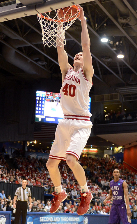 . DAYTON, OH - MARCH 22:  Cody Zeller #40 of the Indiana Hoosiers goes up for a dunk against the James Madison Dukes in the first half during the second round of the 2013 NCAA Men\'s Basketball Tournament at UD Arena on March 22, 2013 in Dayton, Ohio.  (Photo by Jason Miller/Getty Images)