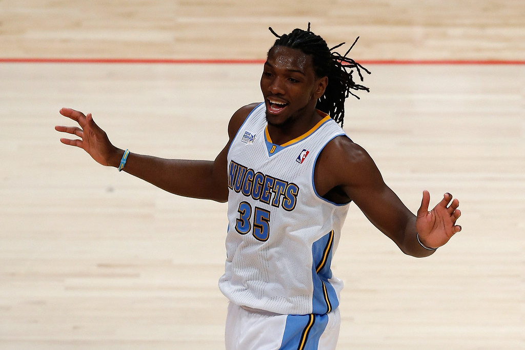 . HOUSTON, TX - FEBRUARY 15:  Kenneth Faried #35 of the Denver Nuggets and Team Chuck reacts in the second half in the BBVA Rising Stars Challenge 2013 part of the 2013 NBA All-Star Weekend at the Toyota Center on February 15, 2013 in Houston, Texas. (Photo by Scott Halleran/Getty Images)