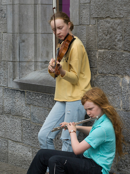 Street musicians performing, Galway City, County Galway, Republic of Ireland