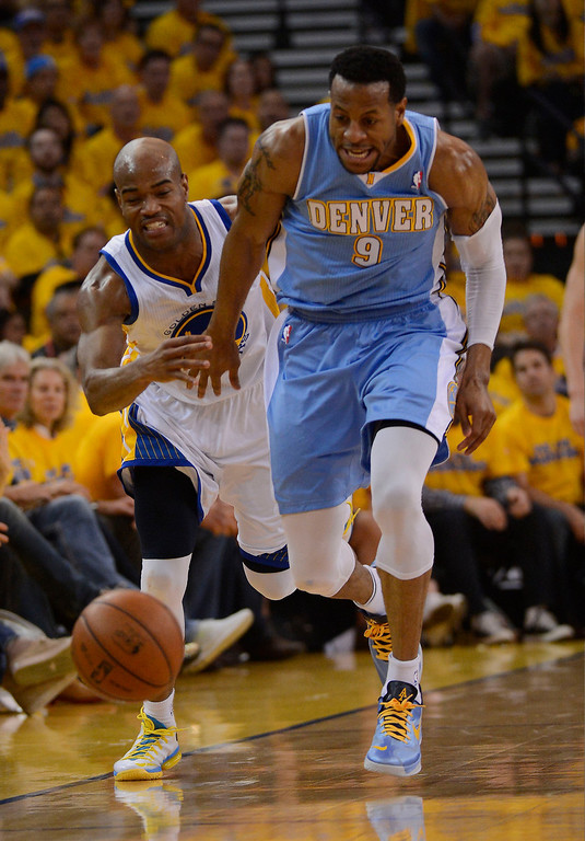 . OAKLAND, CA - APRIL 28:Andre Iguodala (9) of the Denver Nuggets steals the ball from Jarrett Jack (2) of the Golden State Warriors during the second quarter in Game 3 of the first round NBA Playoffs April 28, 2013 at Oracle Arena. (Photo By John Leyba/The Denver Post)
