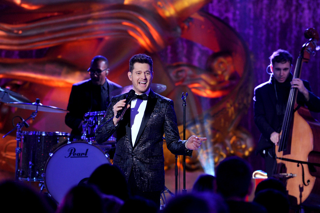 . IMAGE DISTRIBUTED FOR TISHMAN SPEYER - Michael Buble performs at the 2015 Rockefeller Center Christmas Tree Lighting Ceremony, Wednesday, Dec. 2, 2015 in New York. (Photo by Diane Bondareff/Invision for Tishman Speyer/AP Images)