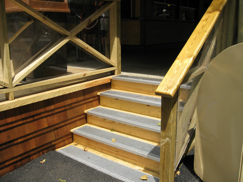 New steps onto the Gables Grill deck. Non-slip risers.