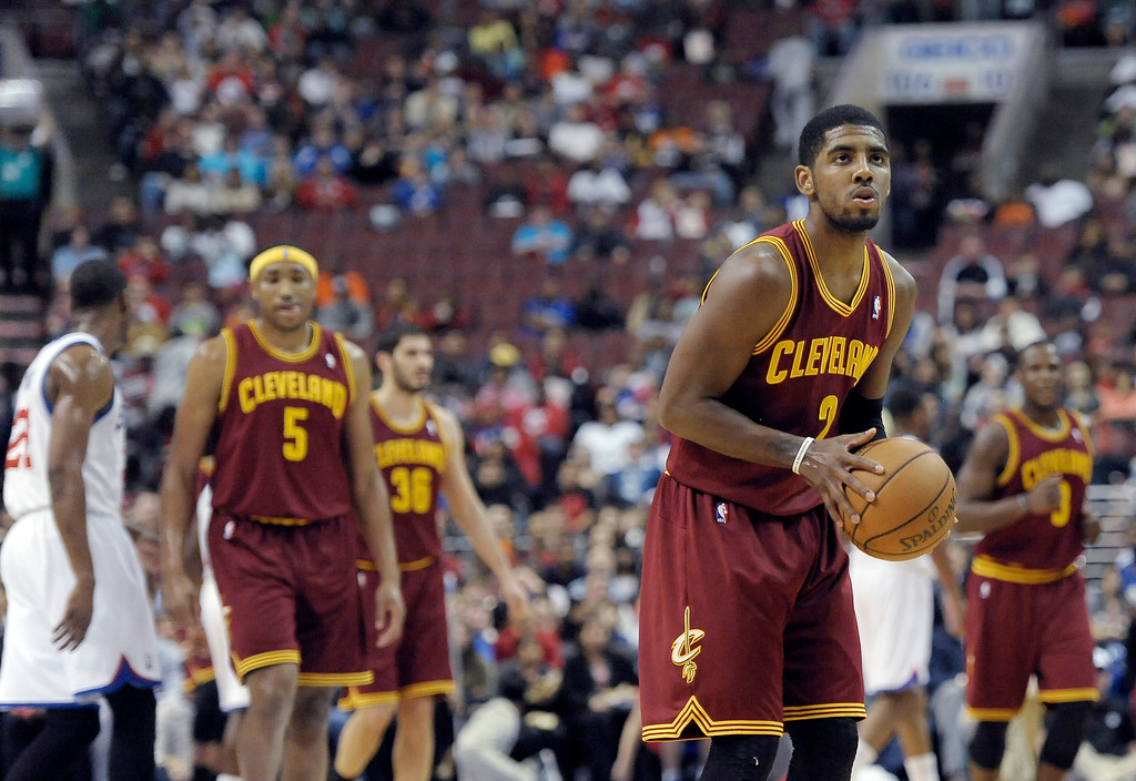 . Cleveland Cavaliers\' Kyrie Irving (2) is shown on the foul line during an NBA basketball game against the Philadelphia 76ers, Sunday, April 14, 2013, in Philadelphia. The 76ers won 91-77. (AP Photo/Michael Perez)
