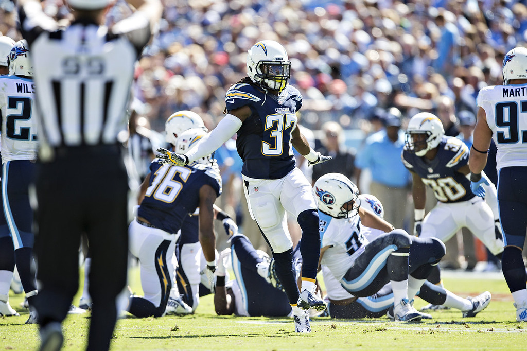 . Jahleel Addae #37 of the San Diego Chargers celebrates after a big play against the Tennessee Titans at LP Field on September 22, 2013 in Nashville, Tennessee.  The Titans defeated the Chargers 20-17.  (Photo by Wesley Hitt/Getty Images)