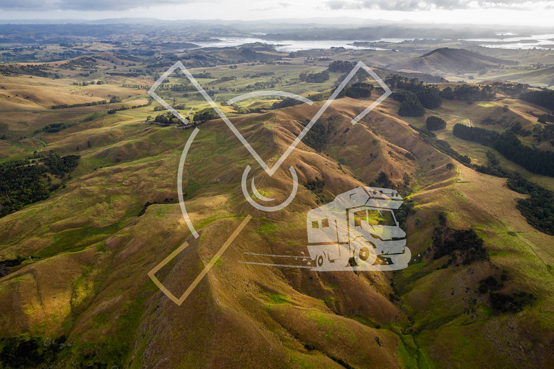 Aerial view on farmland early in the morning at Ruawai area in Northland, New Zealand.