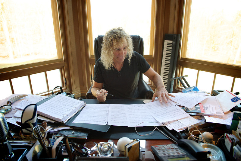 """. January 17, 2014 - Bon Jovi keyboardist David Bryan works on the score for his new musical \""""Chasing The Song\"""" at his home in Colts Neck, NJ on January 17, 2014. Bryan won two Tony awards for writing the music to the Broadway show, \""""Memphis.\""""  (Photo credit: David Bergman / Bon Jovi)"""