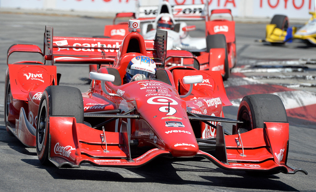 . Scott Dixon comes through turn two as he leads the pack in theToyota Grand Prix of Long Beach in Long Beach CA. Sunday April 19, 2015. Dixon went on to win the race.   (Thomas R. Cordova-Daily Breeze/Press-Telegram)