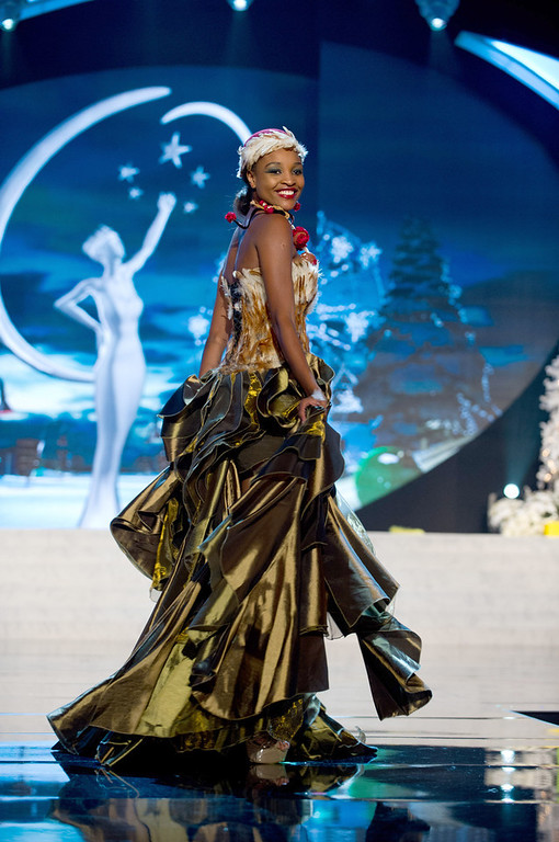 . Miss Namibia 2012, Tsakana Nkandih, performs onstage at the 2012 Miss Universe National Costume Show on Friday, Dec. 14, 2012 at PH Live in Las Vegas, Nevada. The 89 Miss Universe Contestants will compete for the Diamond Nexus Crown on Dec. 19, 2012. (AP Photo/Miss Universe Organization L.P., LLLP)
