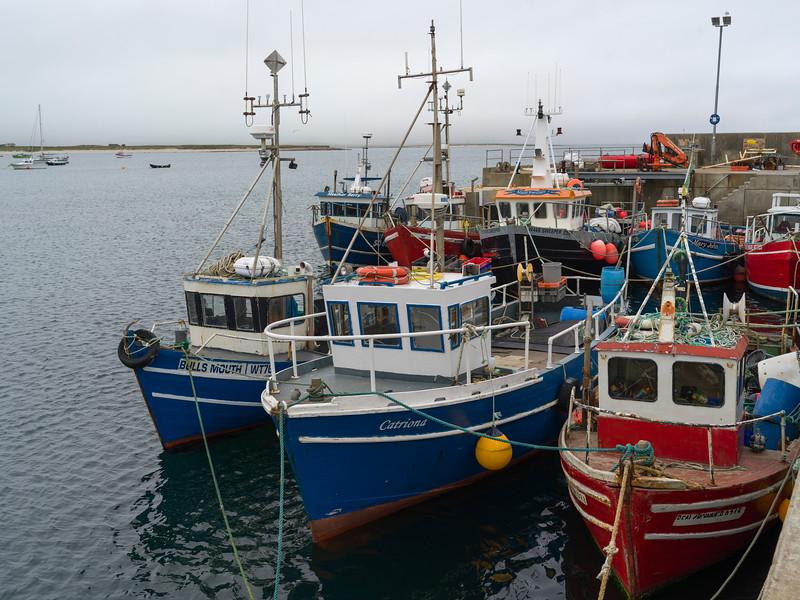 Boats moored at harbor, Mullet Peninsula, Belmullet, Erris, County Mayo, Republic of Ireland