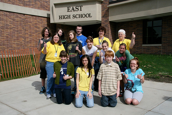 A group of student volunteers from Lincoln East High School helped set up, participate and clean up after the 2010 BackPack Walk