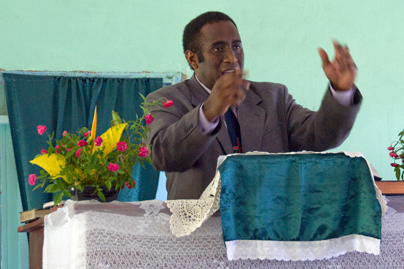 A man during church service in Yasawa Islands, Fiji