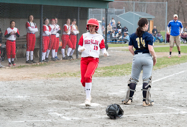 04/12/19 Wesley Bunnell | Staff Berlin softball defeated Platt Tech in an afternoon home game at Sage Park on Friday. Rylee Cop (19) comes home to score a run.