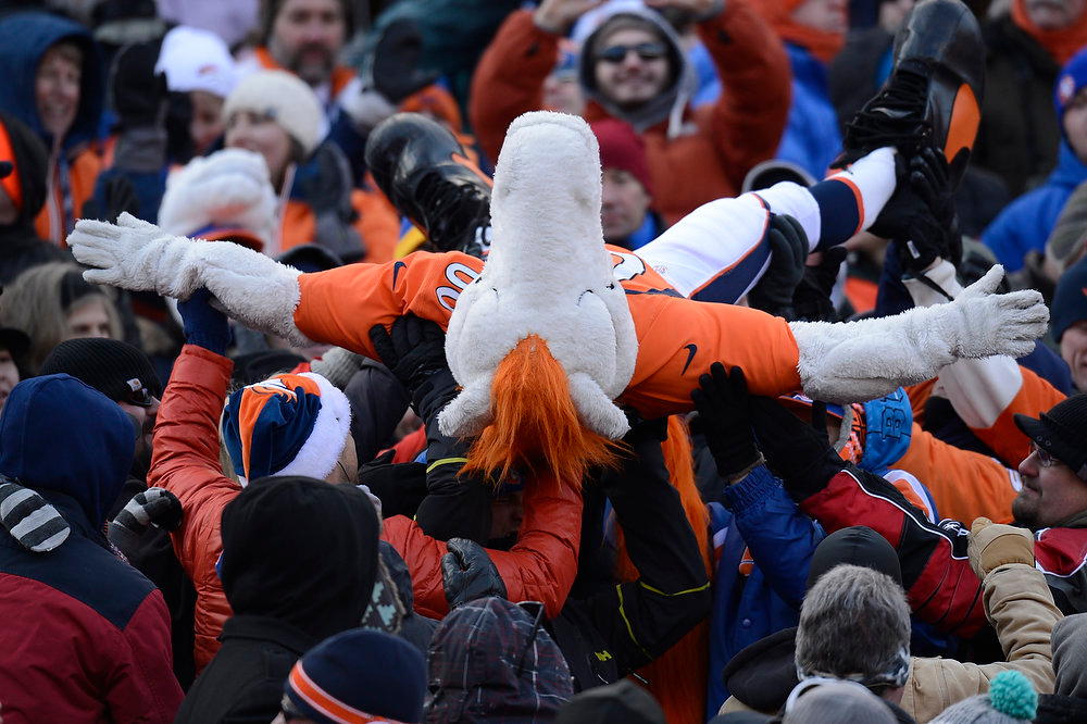 . Miles, the Broncos mascot crowd surfs in the stands during the first quarter. The Denver Broncos vs Baltimore Ravens AFC Divisional playoff game at Sports Authority Field Saturday January 12, 2013. (Photo by Joe Amon,/The Denver Post)