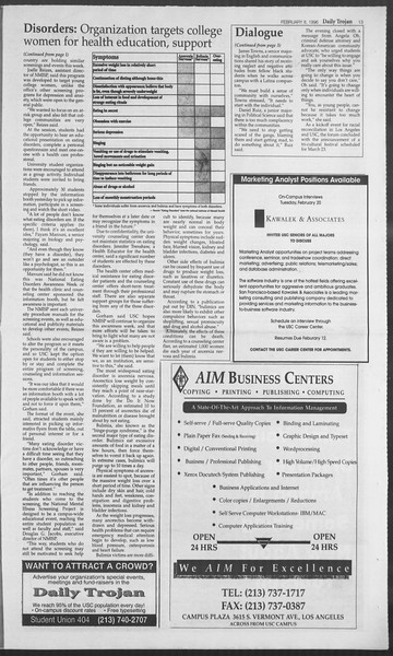 Daily Trojan, Vol. 127, No. 19, February 08, 1996