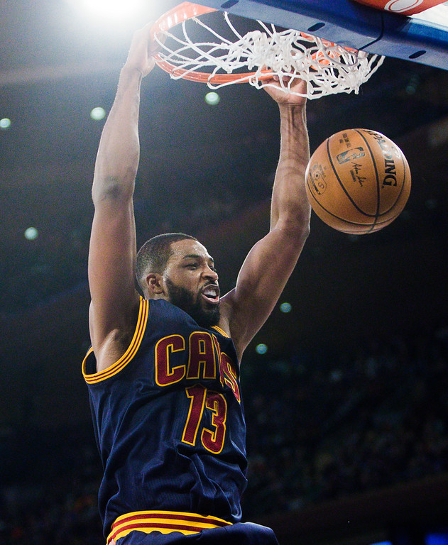 . Cleveland Cavaliers\' Tristan Thompson dunks against the New York Knicks during the first half of an NBA basketball game, Saturday, Feb. 4, 2017, in New York. (AP Photo/Andres Kudacki)