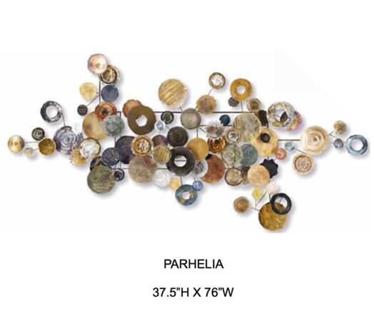 "Parhelia-Hollack, 37 5""high x 76""wide painting on metal"