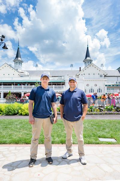 Brad Cox (right) and son Blake at Churchill Downs 6.30.18.