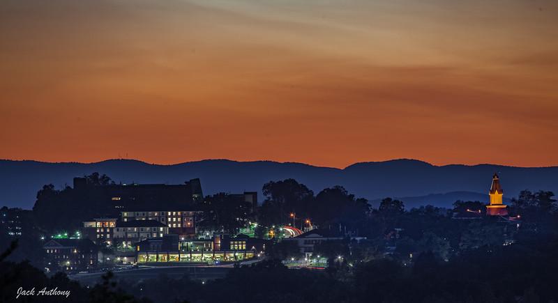 Sunset behind the University of N. Georgia